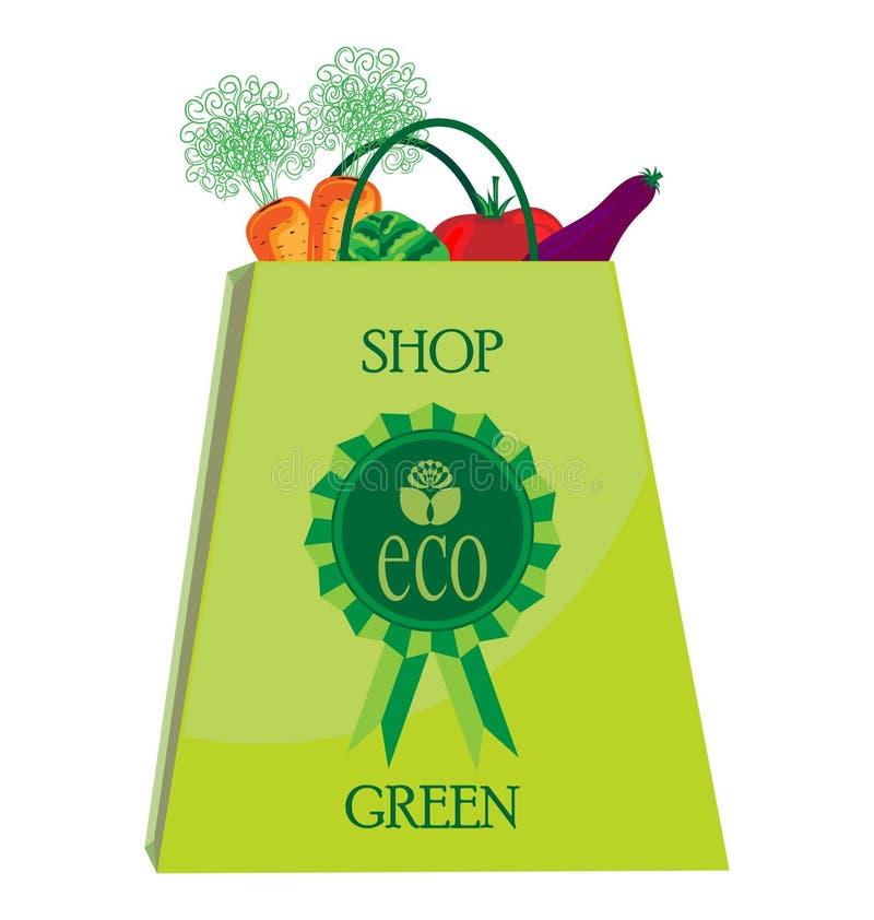 Sac à provisions d'Eco avec des vegatables illustration libre de droits