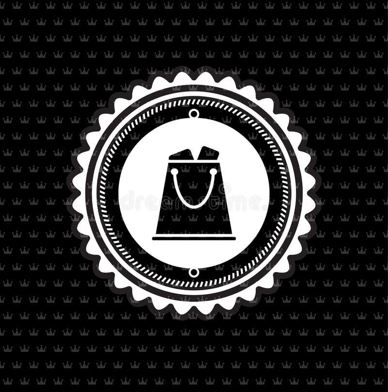 Sac à provisions d'insigne de cru de vecteur rétro illustration de vecteur