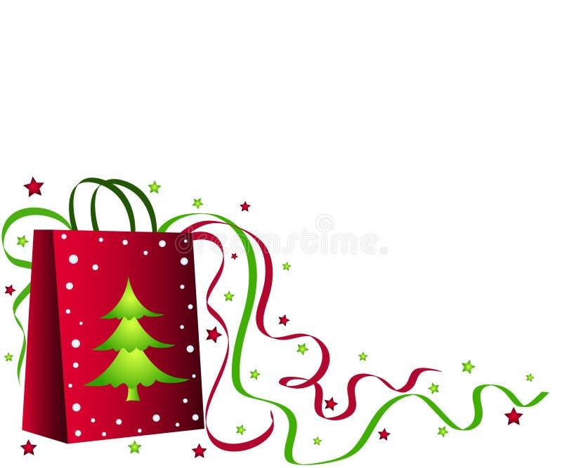 Sac à provisions de Noël illustration stock