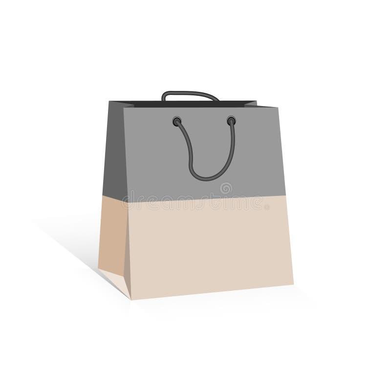 Sac à provisions gris et beige, d'isolement sur le bacground blanc illustration libre de droits