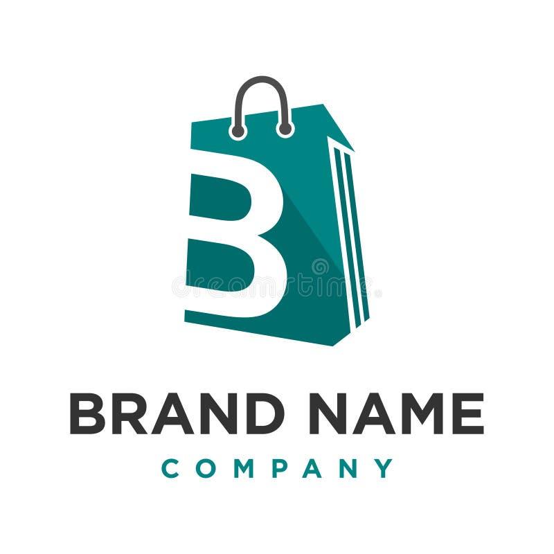 Sac à provisions initial du logo B illustration stock