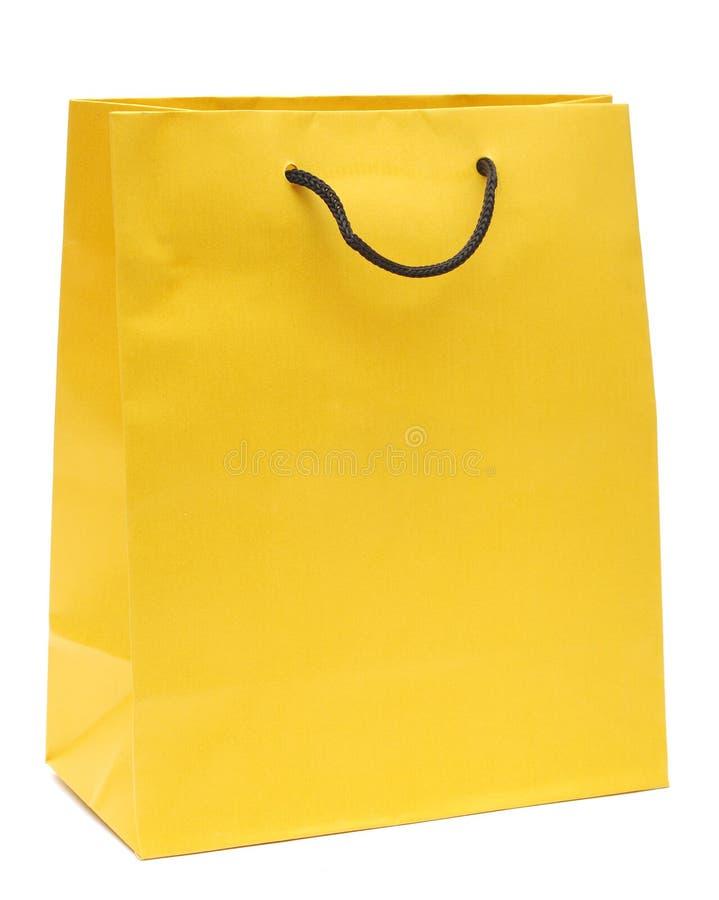 Sac à provisions jaune photos stock