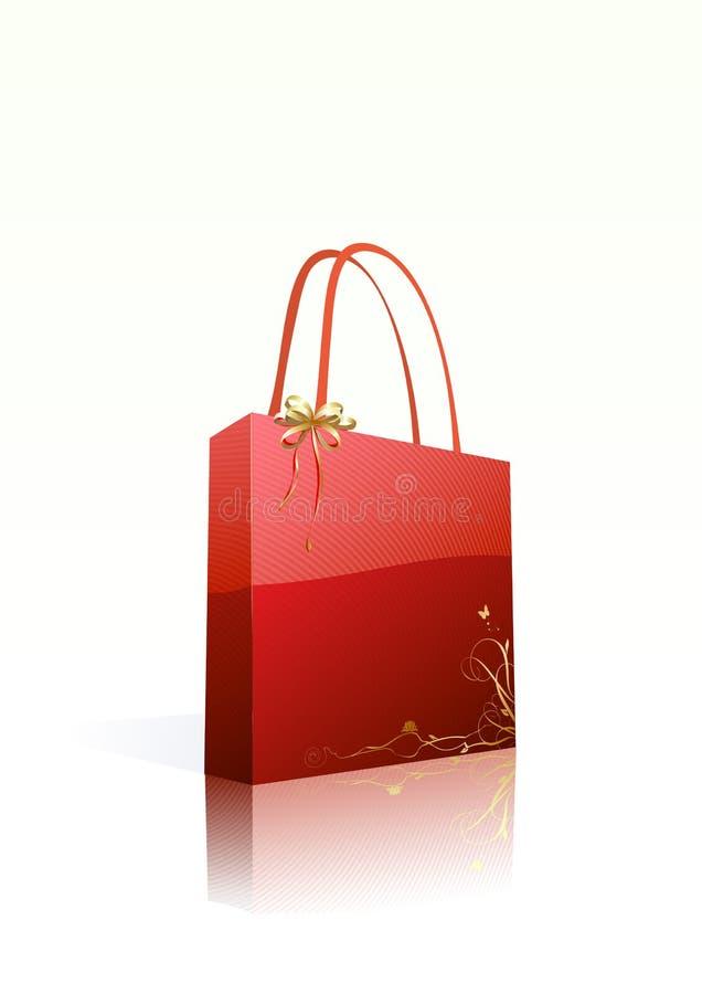 Sac à provisions rouge illustration libre de droits