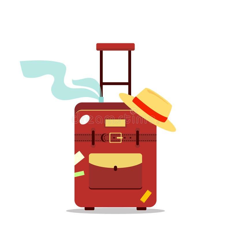 Sac, écharpe plate et chapeau de voyage d'isolement sur le fond blanc - illustration courante Tourisme de logo d'icône, concep d' illustration stock
