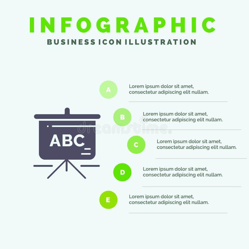 Sac, éducation, fond solide de présentation d'étapes d'Infographics 5 d'icône de cartable illustration de vecteur