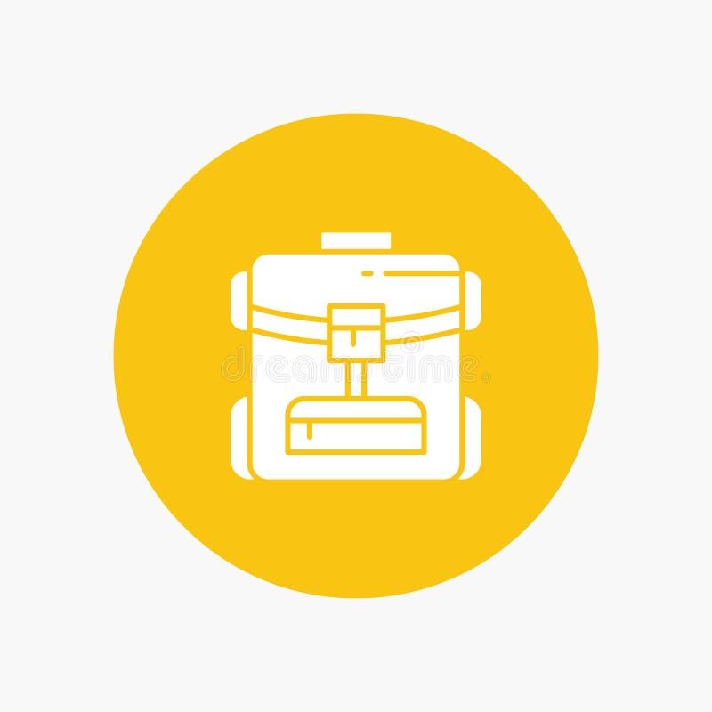 Sac, sac arrière, service, icône blanche de glyph d'hôtel illustration libre de droits