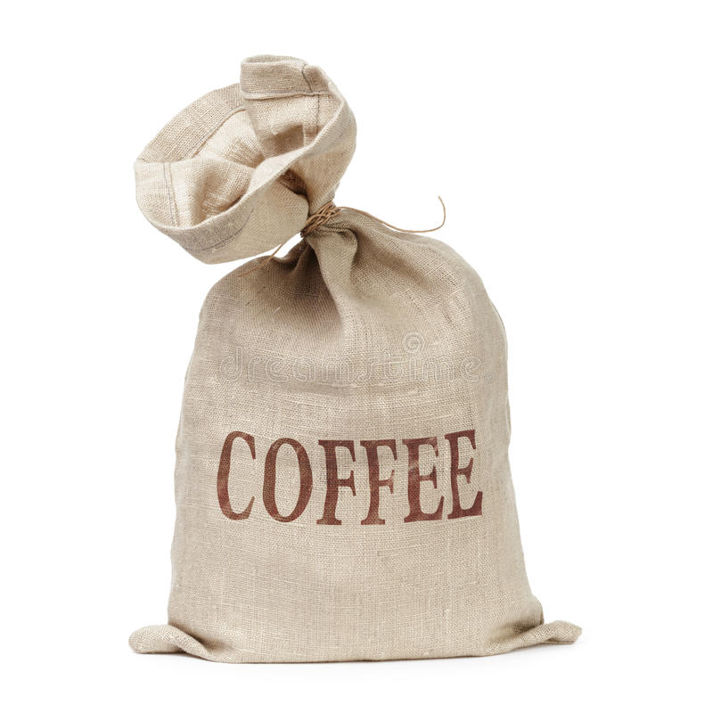 Sac attaché avec le mot de café digitalement écrit images stock