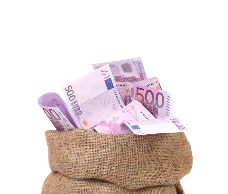 Sac avec beaucoup d'euro billets de banque. image stock
