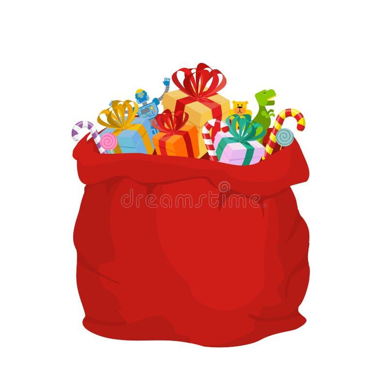 Sac avec des cadeaux Santa Claus Grand sac de fête rouge de vacances Beaucoup gi illustration de vecteur