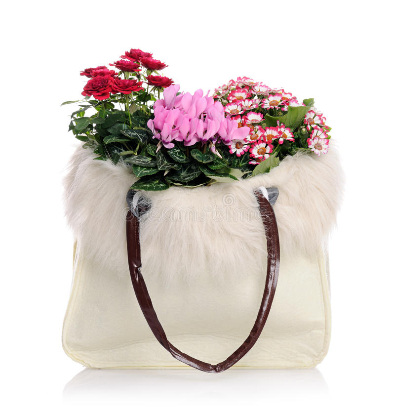 Sac avec des fleurs photo stock