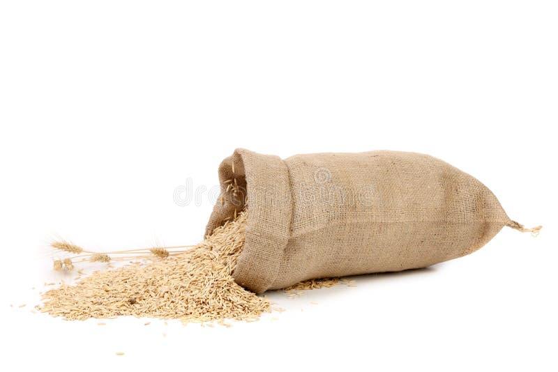 Sac avec des grains et oreille de blé. images stock