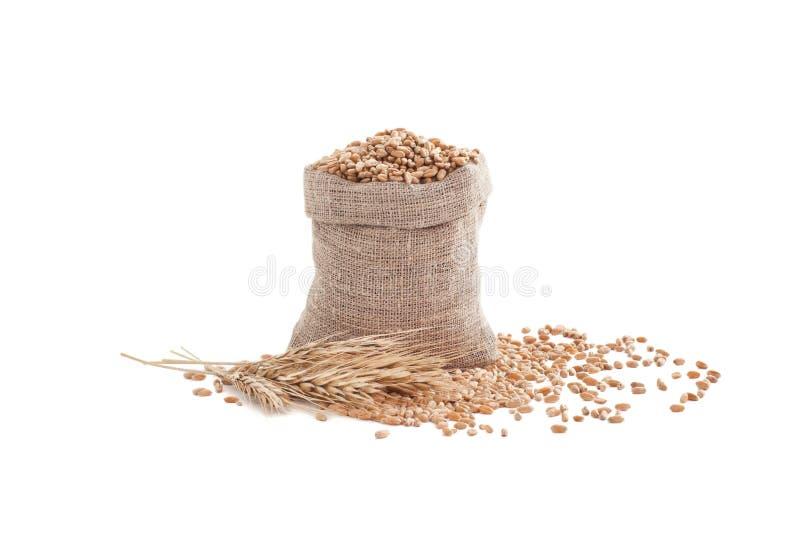 Sac avec des oreilles de grain et de blé photographie stock