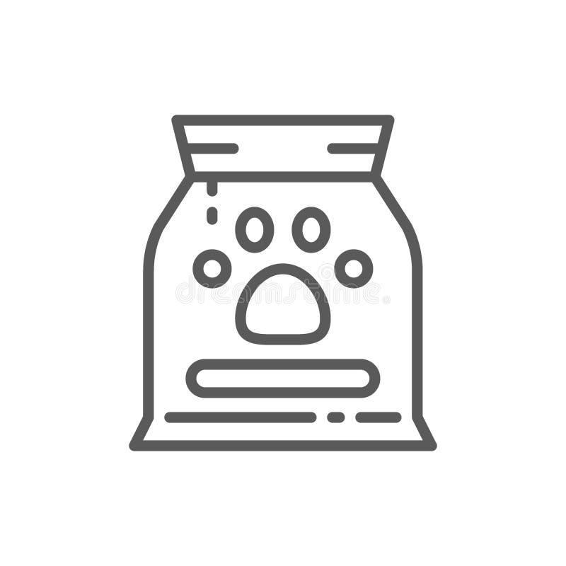 Sac avec la ligne icône d'aliments pour animaux illustration stock