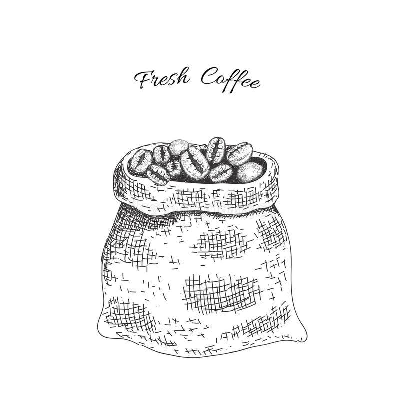 Sac avec les grains de café rôtis Esquisse du style illustration de vecteur
