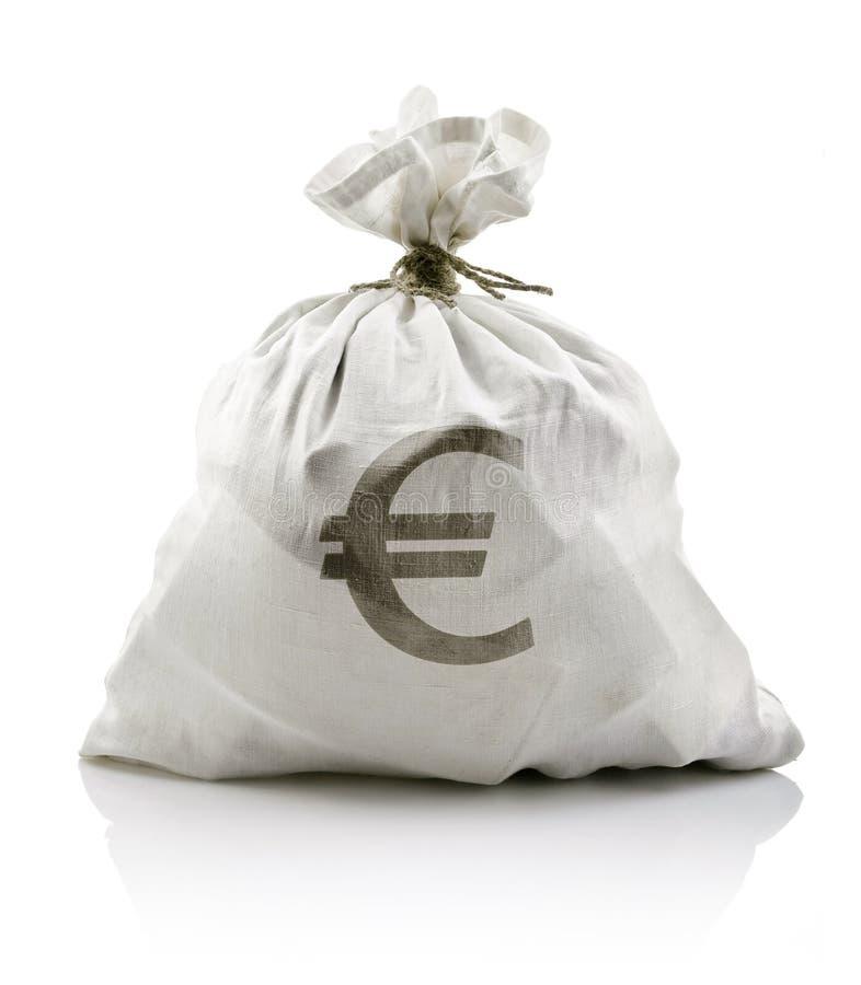 Sac blanc avec de l'euro argent photo libre de droits