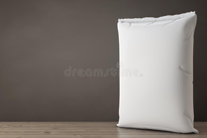 Sac blanc de ciment de sac à papier blanc rendu 3d illustration libre de droits