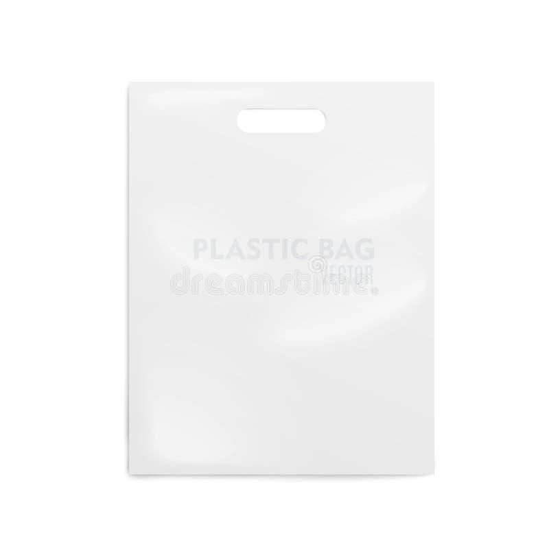 Sac blanc en plastique réaliste Sur le fond transparant Vecteur illustration libre de droits