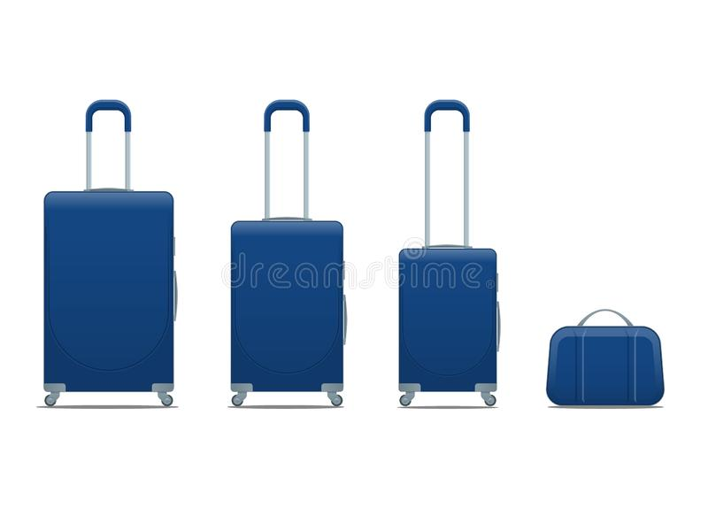 Sac bleu plat de bagage de voyage de vacances d'affaires et de famille, bagages de sac à main modernes Placez des valises et des  illustration libre de droits