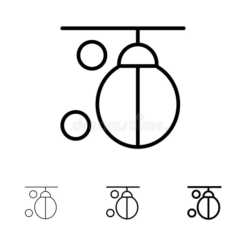 Sac, boxeur, boxe, poinçonnant, formant la ligne noire audacieuse et mince ensemble d'icône illustration stock