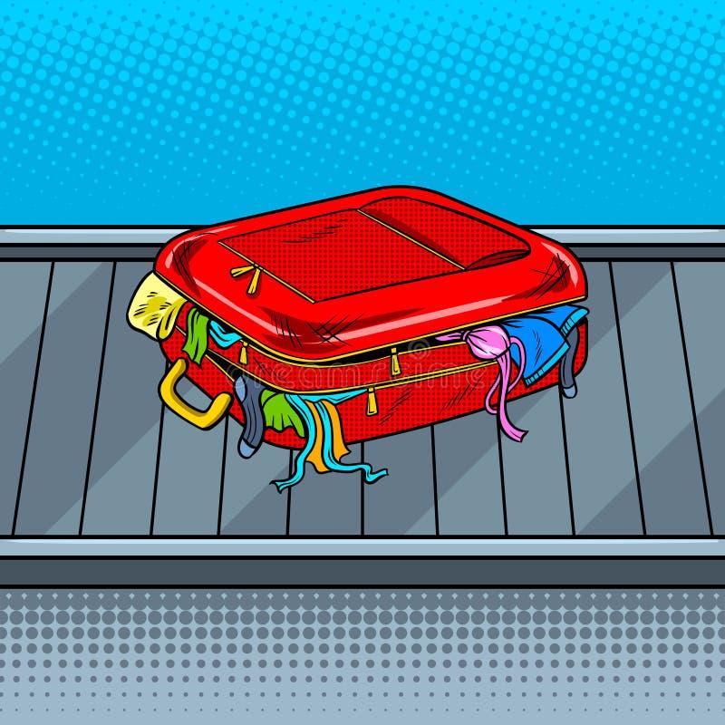 Sac cassé sur le vecteur d'art de bruit de bande de retrait des bagages illustration de vecteur