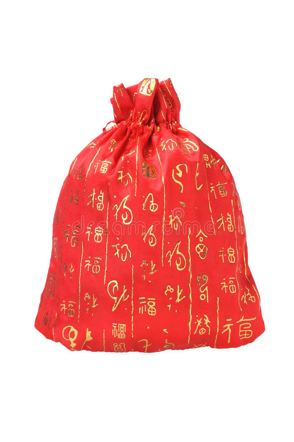 Sac chinois d'argent d'an neuf image stock