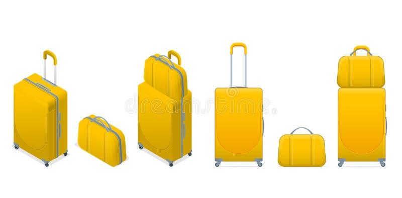 Sac coloré différent isométrique de bagage de voyage de vacances d'affaires et de famille, bagages de sac à main modernes Ensembl illustration libre de droits