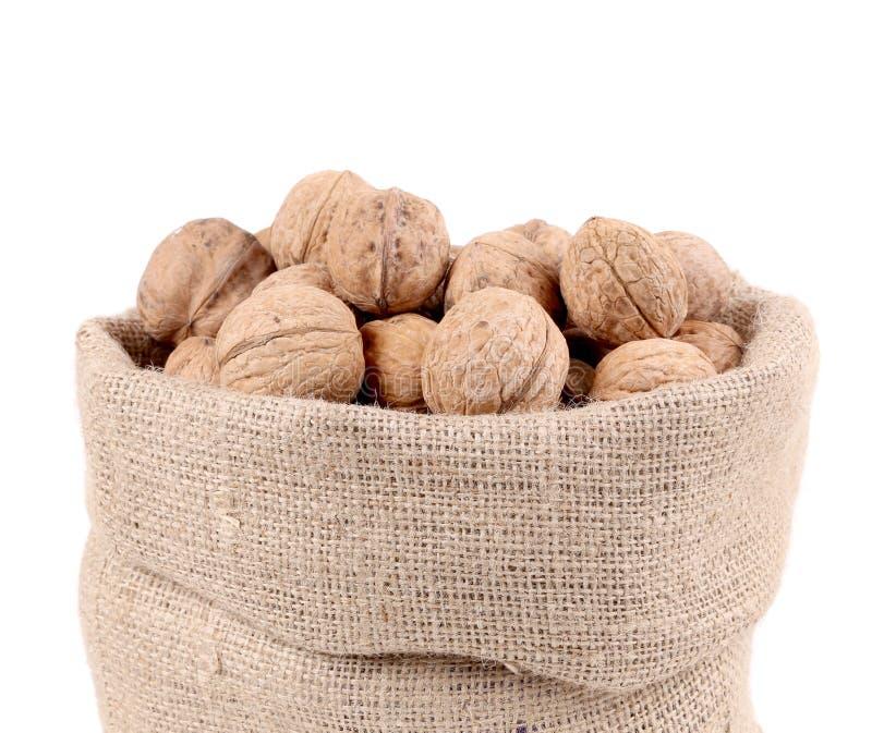 Sac complètement de noix. Fin. image stock