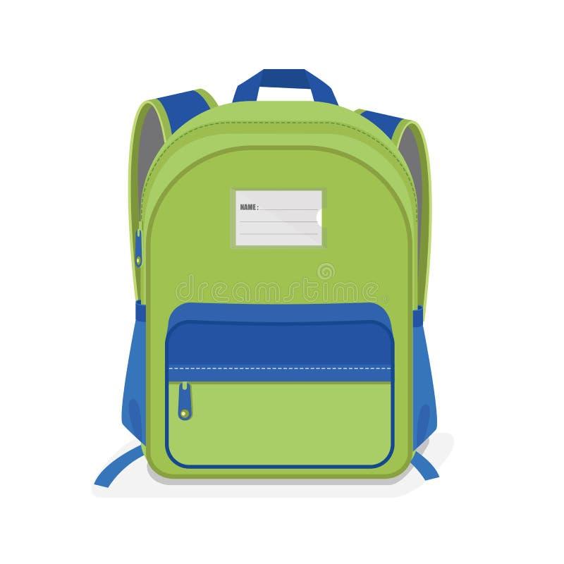 Sac d'école vert et bleu sur le fond blanc photos stock