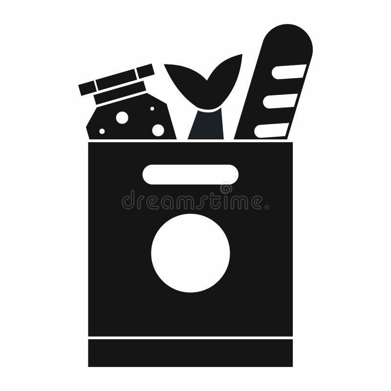 Sac d'épicerie avec l'icône de nourriture, style simple illustration de vecteur