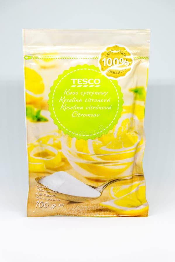 Sac d'acide citrique de Tesco photo libre de droits