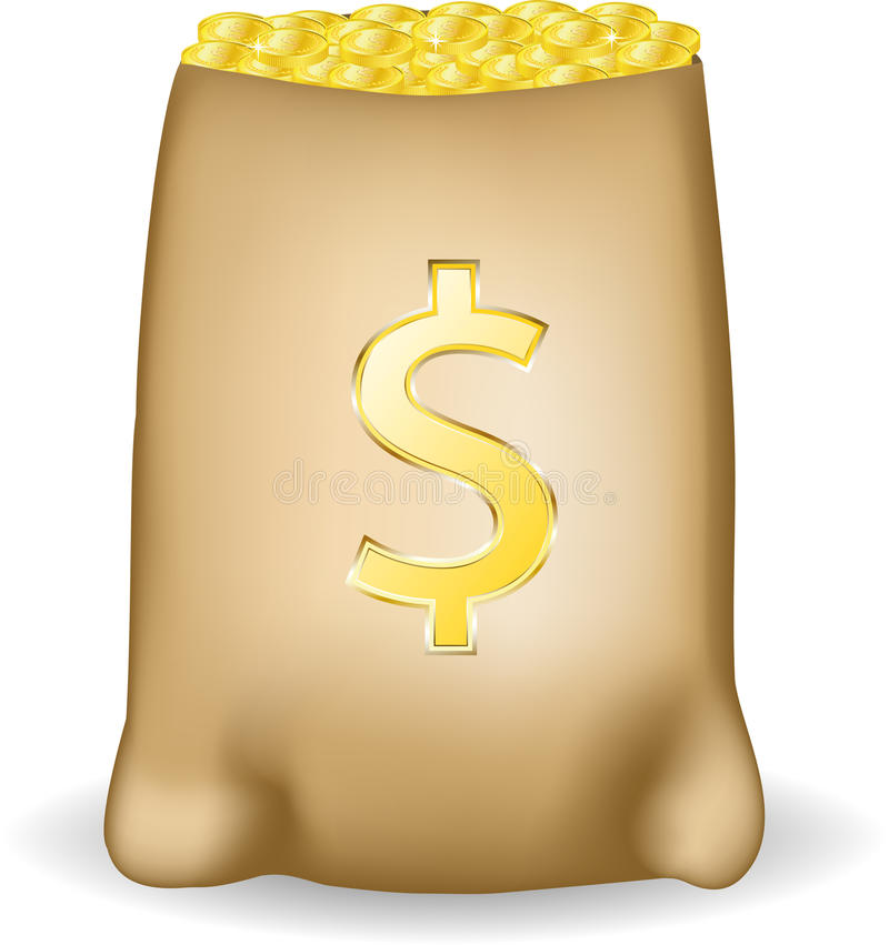 Sac d'argent avec des dollars. illustration de vecteur
