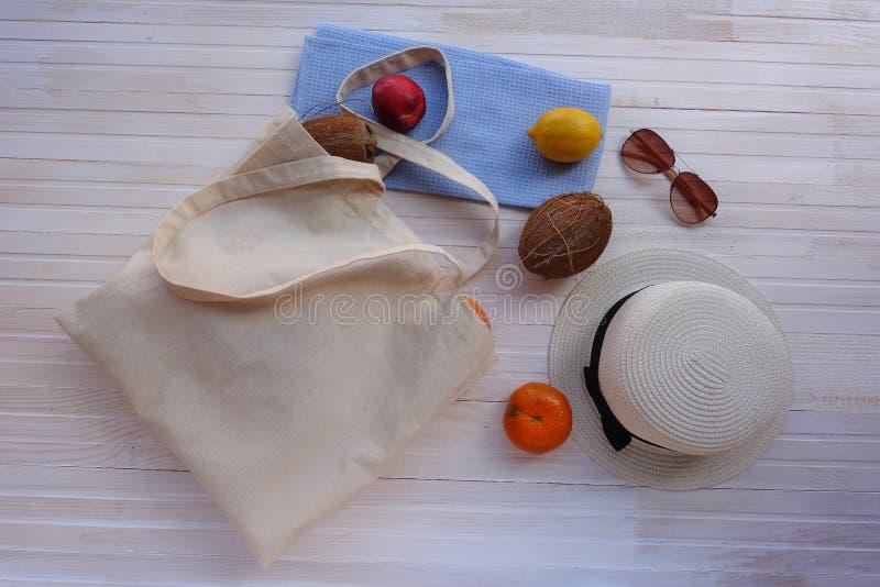 Sac d'Eco avec le fruit, le chapeau et les lunettes de soleil photographie stock libre de droits