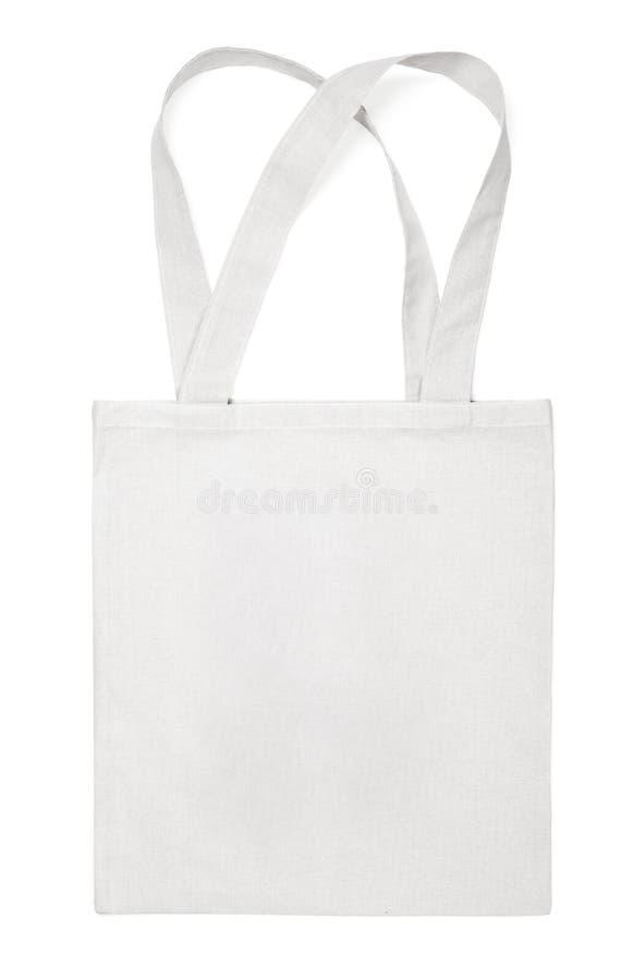 Sac d'eco de coton de tissu sur le blanc photographie stock libre de droits