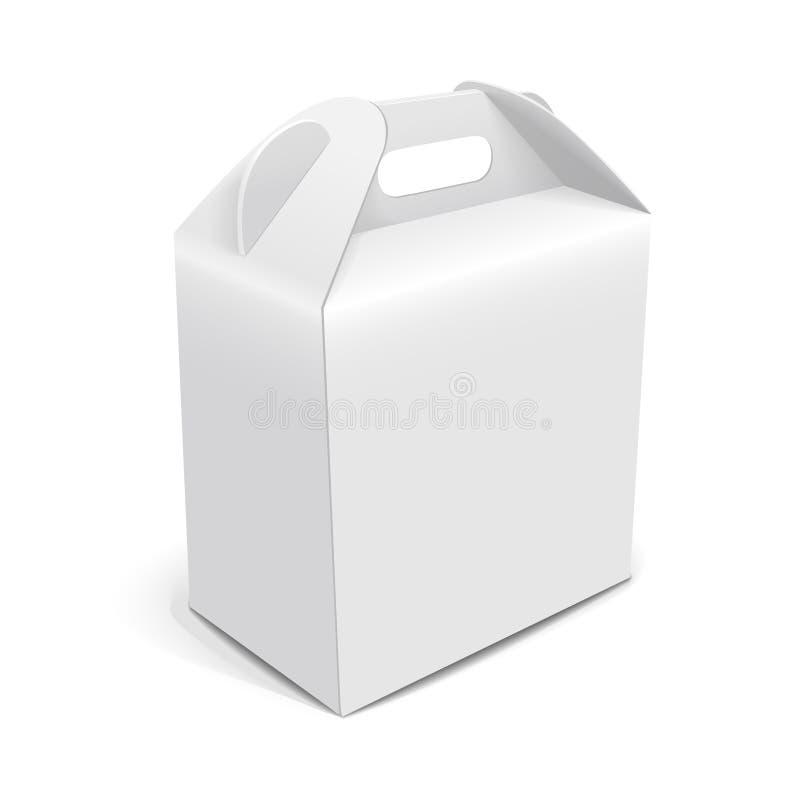 Sac d'emballage de papier blanc avec la poignée illustration libre de droits