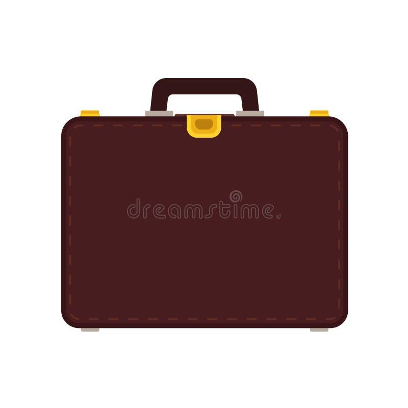 Sac d'icône de vecteur d'affaires de serviette Homme d'affaires de bagage de caisse d'isolement Équipement plat de brun de bureau illustration de vecteur