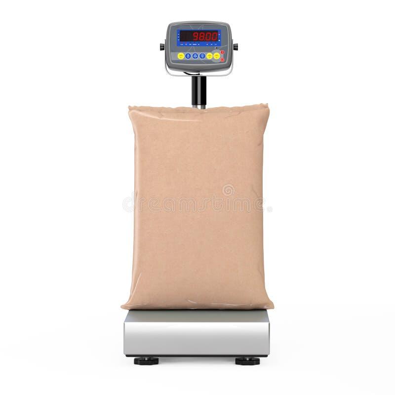 Sac de sac à papier blanc de Brown au-dessus des échelles de cargaison de Digital d'entrepôt rendu 3d illustration de vecteur