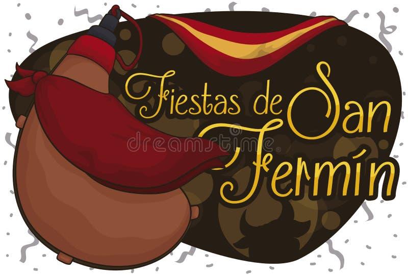 Sac de Bota avec le drapeau et le mouchoir pour célébrer San Fermin, illustration de vecteur illustration stock