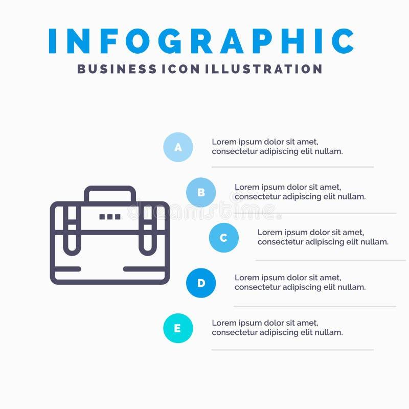Sac, sac de bureau, fonctionnement, ligne icône de motivation avec le fond d'infographics de présentation de 5 étapes illustration libre de droits