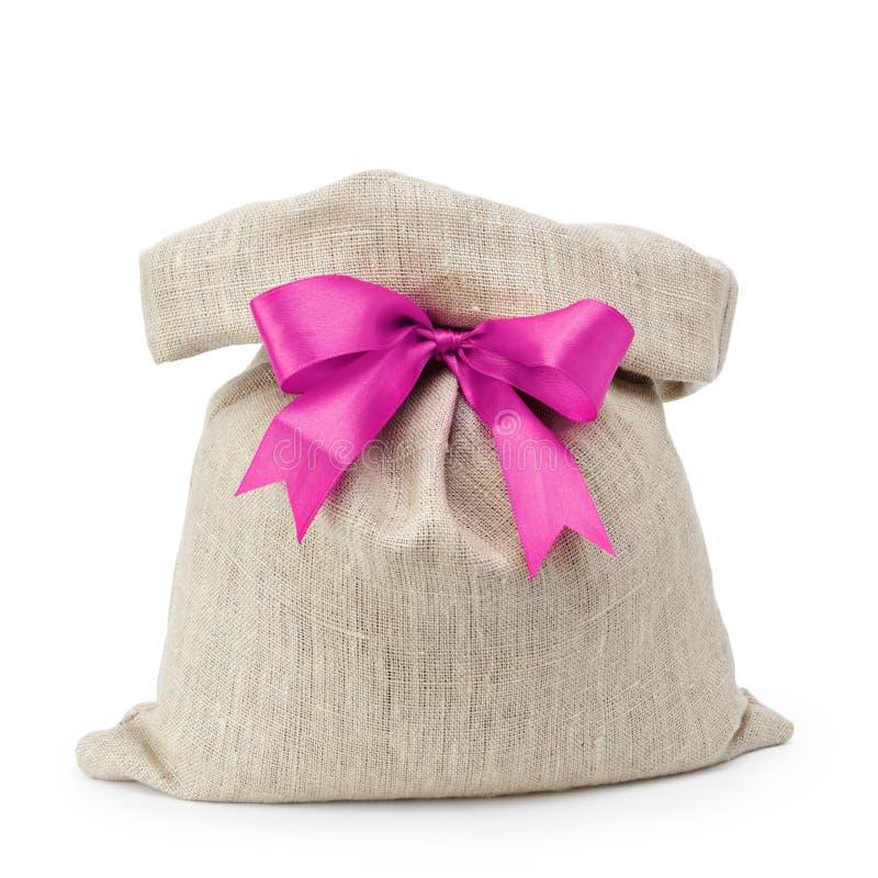 Sac de cadeau de sac avec l'arc de ruban image libre de droits