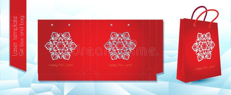 Sac de cadeau de papier de modèle de laser Emballage de félicitations pour au détail Calibre de coupe à jour de laser Illustratio illustration libre de droits