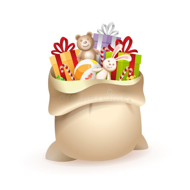 Sac de cadeau de Santa Claus ou de Saint-Nicolas avec des jouets - d'isolement sur le fond blanc illustration stock