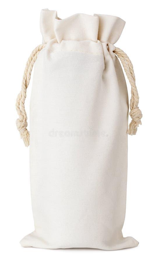 Sac de coton de tissu petit d'isolement sur le blanc photo stock