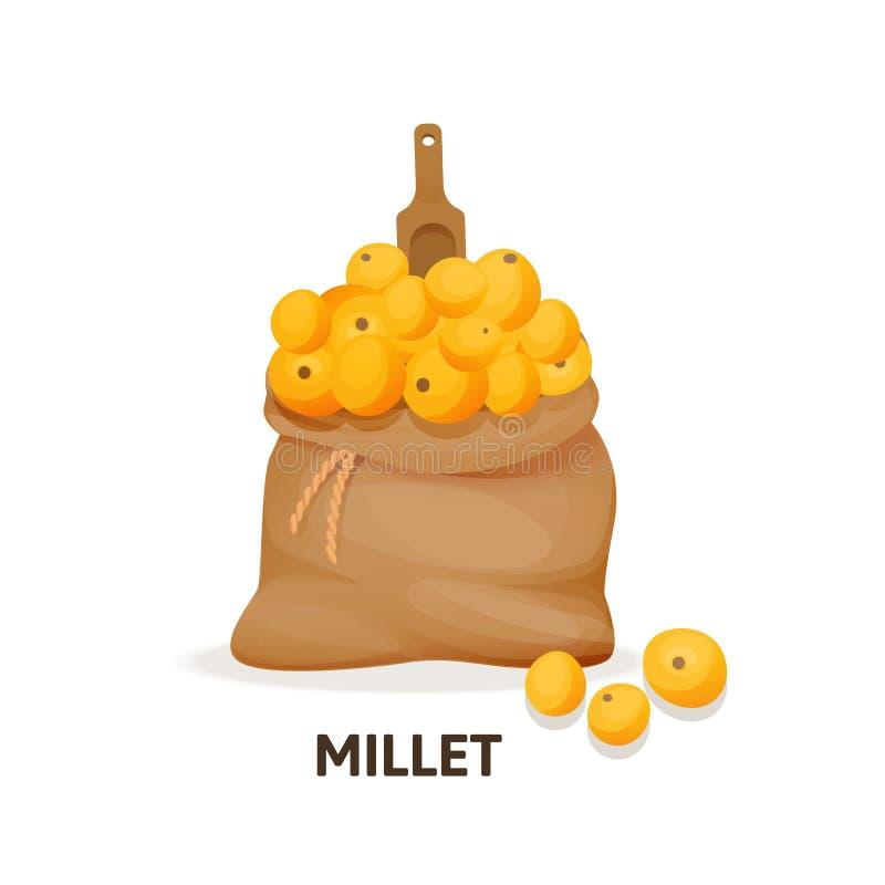 Sac de culture de millet, cuillère en bois, culture agricole, aliment biologique illustration libre de droits