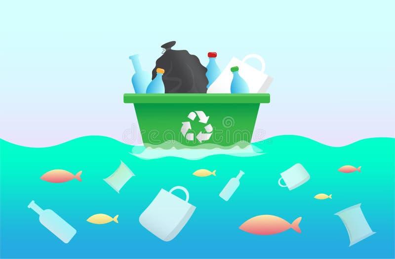 Sac de déchets en plastique, bouteille dans l'océan Poissons en plastique de déchets de conception environnementale Arrêtez l'ill illustration libre de droits