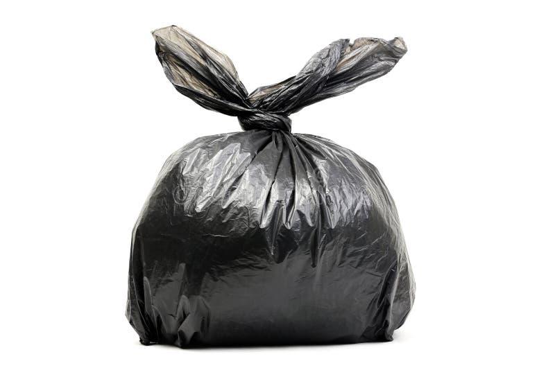 Sac de déchets noir d'isolement sur un blanc photographie stock libre de droits