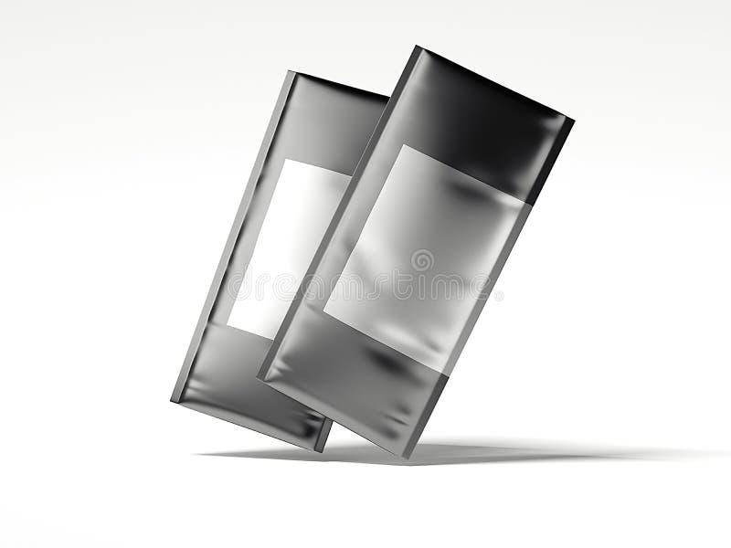 Sac de deux aluminium avec l'espace vide pour faire de la publicité rendu 3d illustration de vecteur