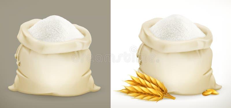 Sac de farine et de blé vecteur 3d illustration de vecteur