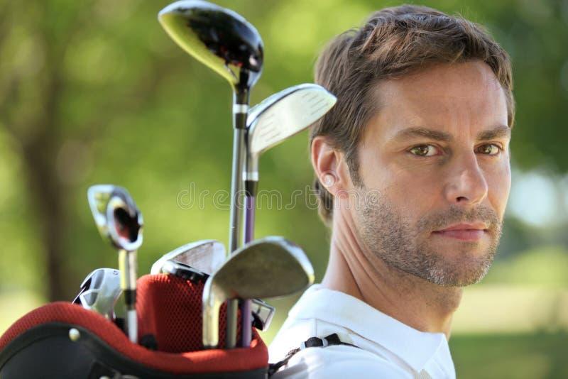 Sac de golf de transport d'homme photographie stock