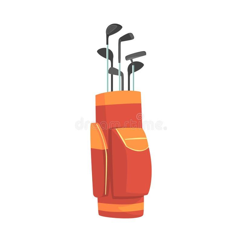 Sac de golf rouge et orange complètement des clubs, illustration de vecteur d'équipement de sport de golfeur illustration de vecteur