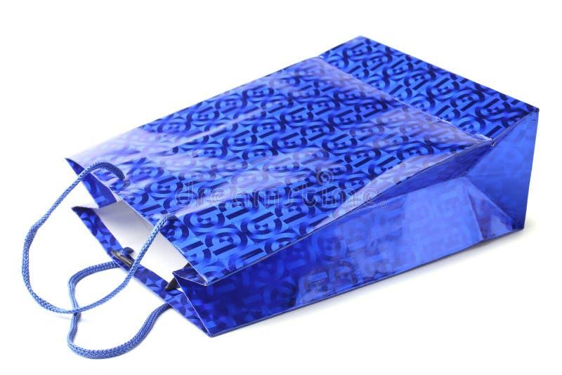 Sac de papier d'achats bleus image libre de droits